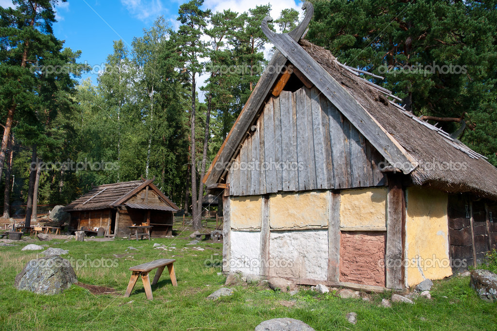 Wooden houses in Vikings village near Stockholm. Sweden — Stock Photo #6696290