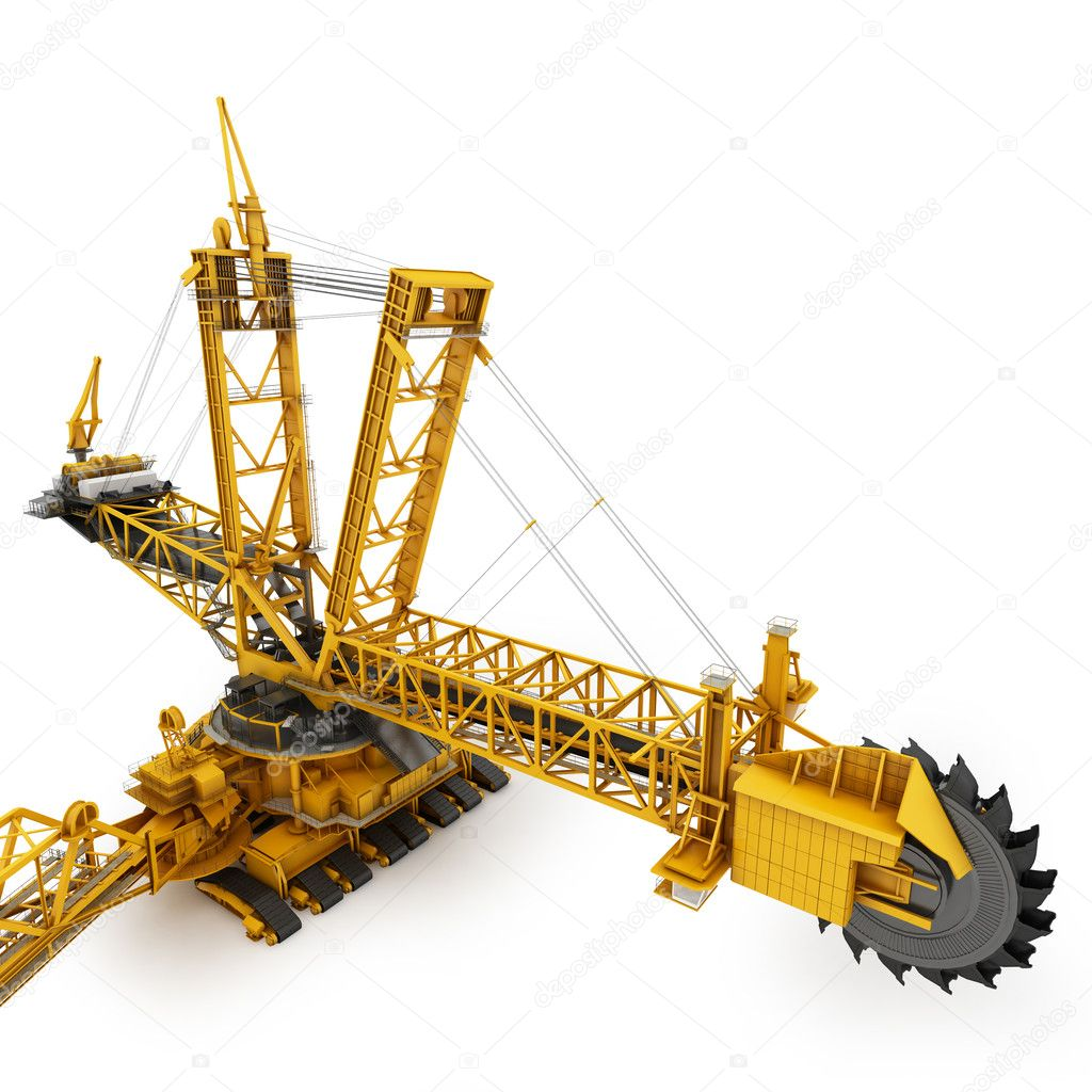 Bucket wheel excavator isolated on white  Stock Photo #6121943