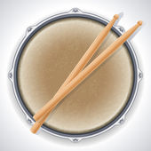 Drum and drumsticks — 图库矢量图片