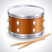 Drum and drumsticks — Stockvector