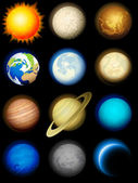Solar system icons — Stock Vector
