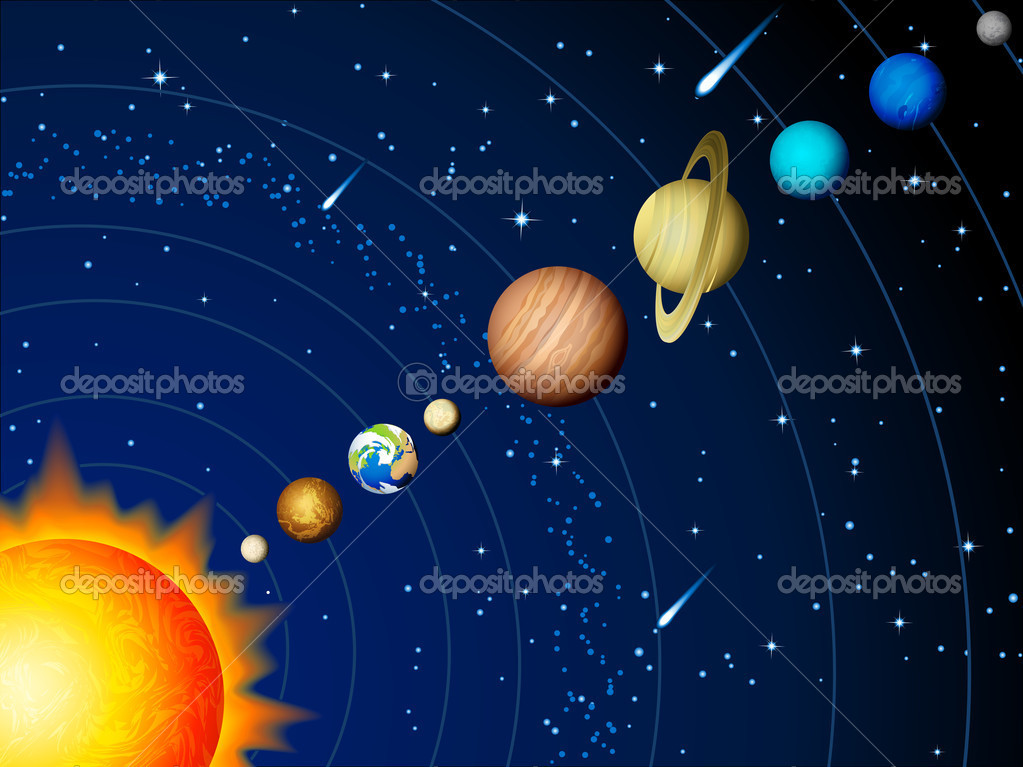 Vector illustration - Solar system background — Stock Vector #6739796