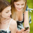 Stock Photo: Two beautiful girls read sms