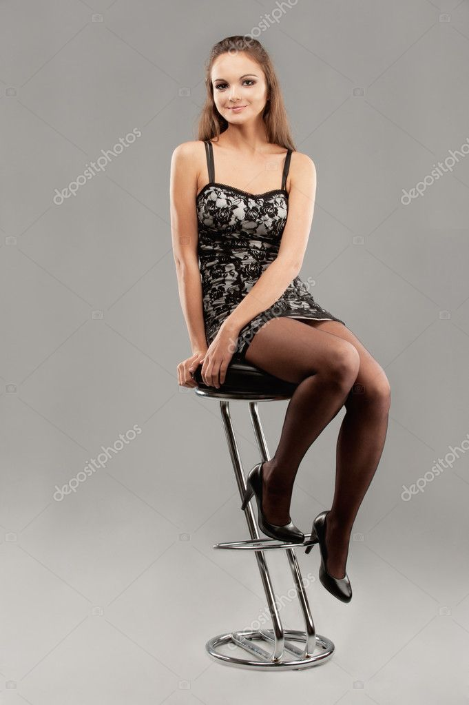 Young woman sits on bar chair Stock Photo  : depositphotos5477516 Young woman sits on bar chair from depositphotos.com size 681 x 1023 jpeg 48kB
