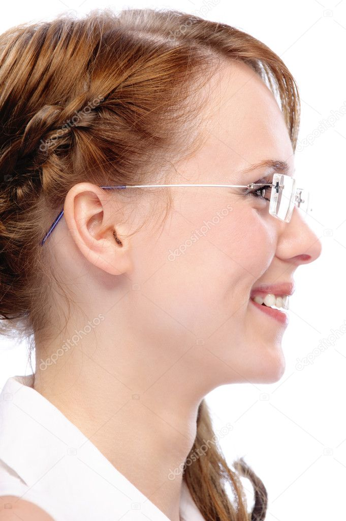 stock photo profile with glasses