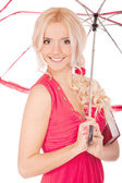 Girl with sun-protection parasol — Stock Photo