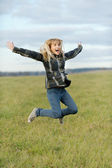 Girl jumps — Stock Photo