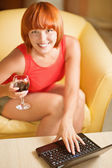 Woman with glass wine — Stock Photo