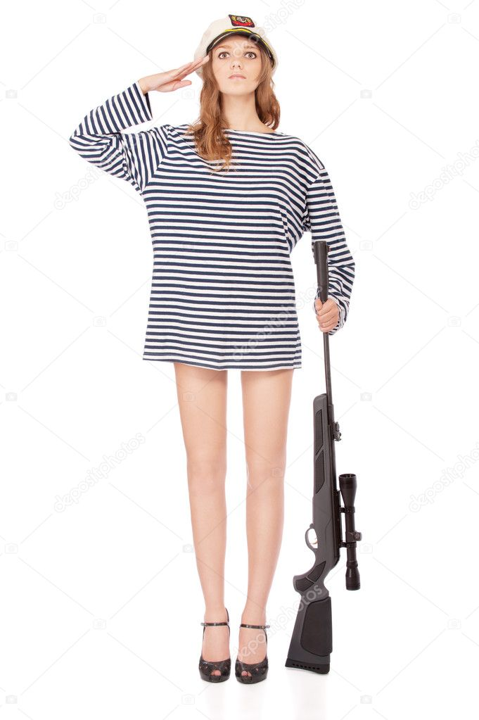 Young beautiful woman in sea peak-cap and stripped vest with rifle, it is isolated on white background. — Stock Photo #5675825