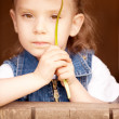 Beautiful preschool child with dandelion — Stock Photo