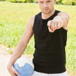 Man with volleyball ball - Stock Photo