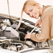 Stock Photo: car mechanician repairs engine
