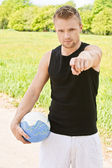 Man with volleyball ball — Foto de Stock