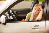 Driver-woman of car at wheel — Stock Photo