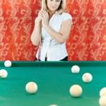 Woman plays billiards — Stock Photo #5771910