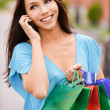 Stock Photo: Young smiling womto purchases and telephone.