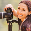 Beautiful girl with camera — Stock Photo #5844282