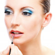 Woman close up with which paint lips — Stock Photo