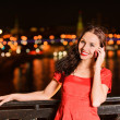 Stock Photo: Woman talks on mobile telephone