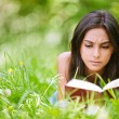 Woman lies on grass and reads book - Stock Photo