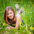 Portrait of young charming woman in grass - Stock Photo