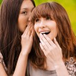 Stock Photo: Two young speaking women