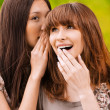 Two young speaking women - Stock Photo