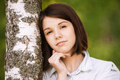 Portrait of young pensive woman — Stock Photo