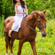 Young beautiful woman rides a horse — Stock Photo #6084837
