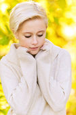 Young blond woman looking somewhere — Stock Photo