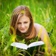 Portrait of young woman reading a book - Foto Stock