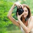 Portrait of young smiling woman taking photo — Stock Photo #6279651