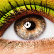 Colourfully painted eye - Stock Photo