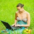 Young woman working with laptop — Stock Photo