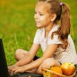 Little girl working with laptop — Stock Photo