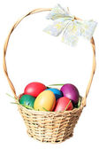 Eastern eggs in the basket — Stock Photo