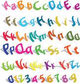 Cute alphabet with numerics — Stock Vector