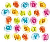 Joyful alphabet in colorful drops — Stock Vector