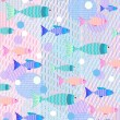 Tender colorful background with fish — Stock Vector