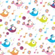 Color background with birds and flowers - Stockvectorbeeld