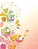 цвет фона с птицы и цветы — Cтоковый вектор