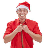 Sexy muscular man wearing a Santa Claus hat — Stock Photo