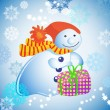 Christmas illustration - background with snowman, gift  and snow - Stock Vector