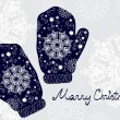 Christmas illustration - background with mittens and snowflakes - Stock Vector