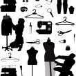 A collection of tools for cutting and sewing - Stock Vector