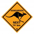 Kangaroo road sign — Stock Vector