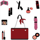 Collection of female accessories — Stock Vector