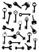 Collection of ancient keys — Stock Vector