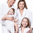 Happy family isolated - Stock Photo
