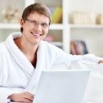 Happy man with laptop — Stock Photo #5461571